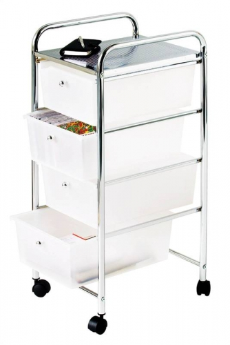 4 Tier Plastic Drawers with Chrome Frame White