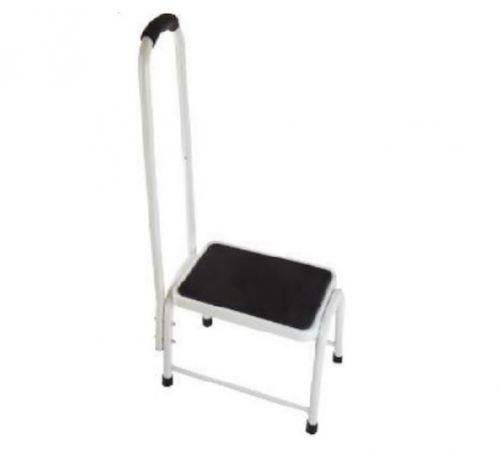 White Steel Rubber Platform Step With Handrail and non slip Grip