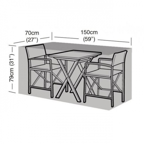 2 Seater Large Bistro Set Cover Black