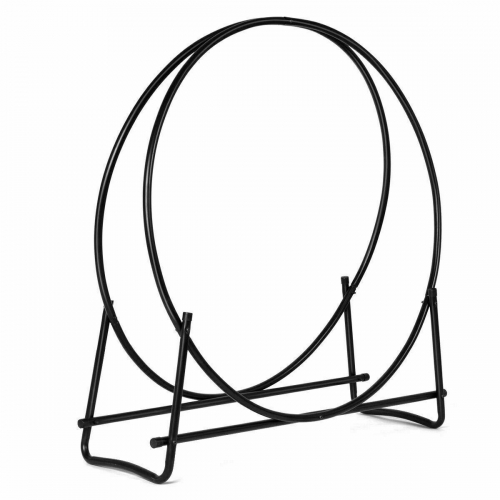 40 Inch Tubular Steel Log Hoop Firewood Storage Rack Holder