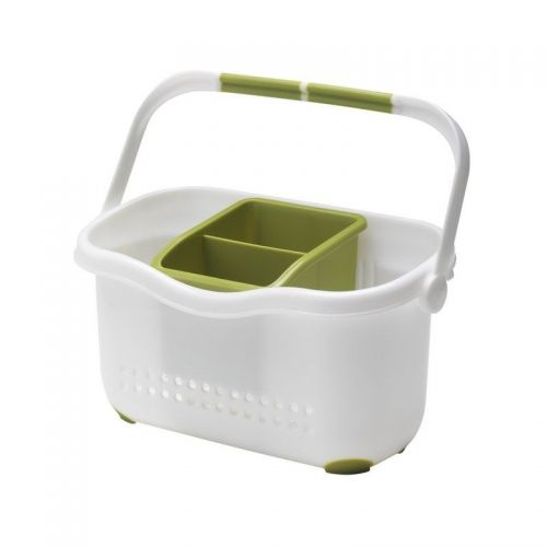 Kitchen Sink Side Organiser Plastic Caddy White and Green With Handle Cutlery Dranier