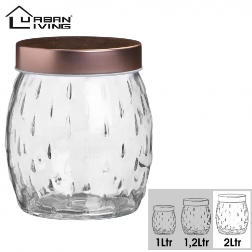 2L Round Glass Storage Jar Airtight Copper Lid Food Canister