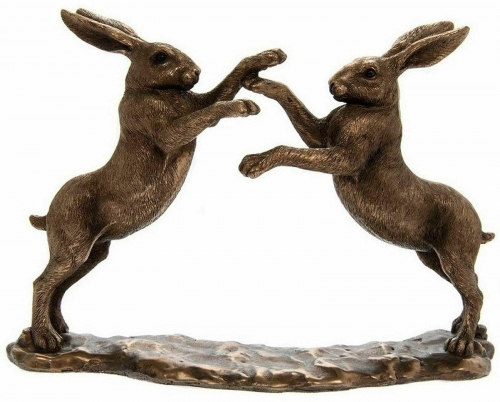 Twin Boxing Hares Bronze Effect Ornament Figurine Home ornament Gift Boxed