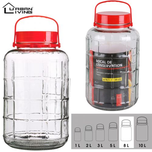 8L Glass Jar Food Preserve Seal-able Airtight Container With Red plastic lid