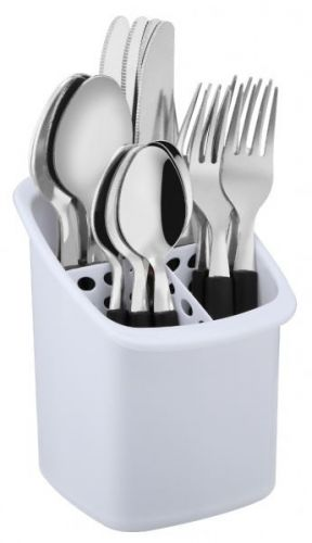 16Pc Black StylishTableware Dining Kitchen Stainless Steel and Plastic Cutlery Set With Caddie