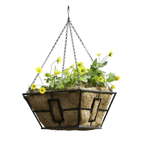 14 Inch Black Square Contemporary Hanging Basket with Coco Liner