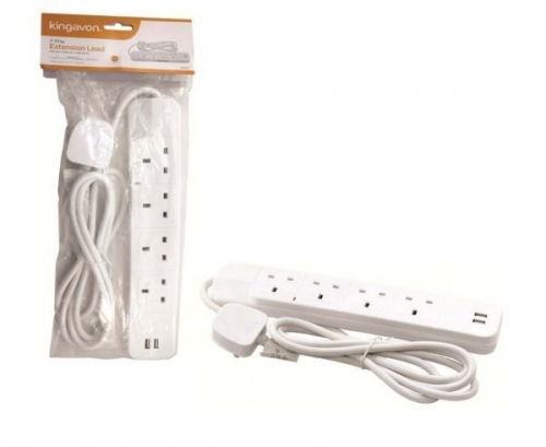 4 Way Extension Lead With 2M Cable And 2 Usb Ports