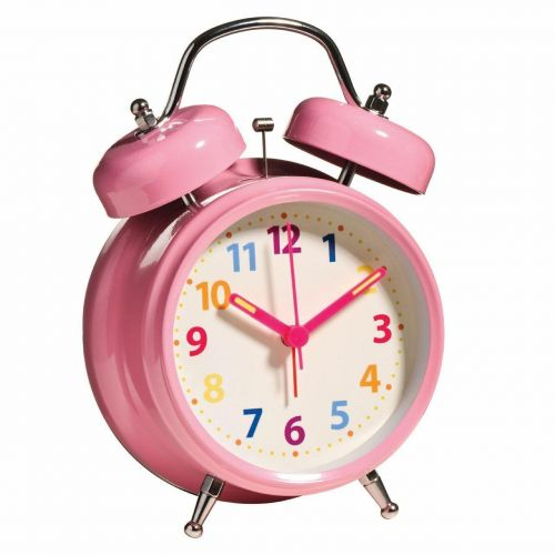 Alarm Clock Twin Bell with Light Multi colour Number light weight pink