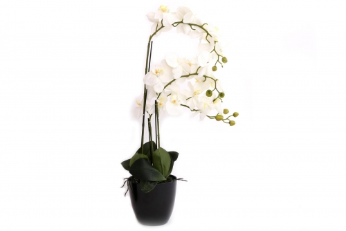 75cm Artificial White Orchid With 3 Stems Home Decoration