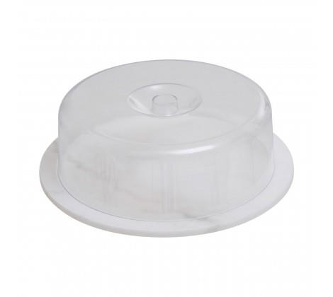 Round White Marble Cheese Board With Clear Plastic Domed Lid 30x9 CM