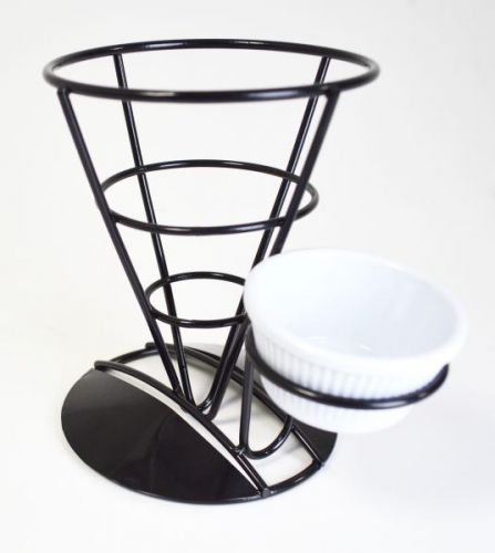 Black Display Cone Serving Stand With Ramekin Holder 19X13.5X17.5Cm