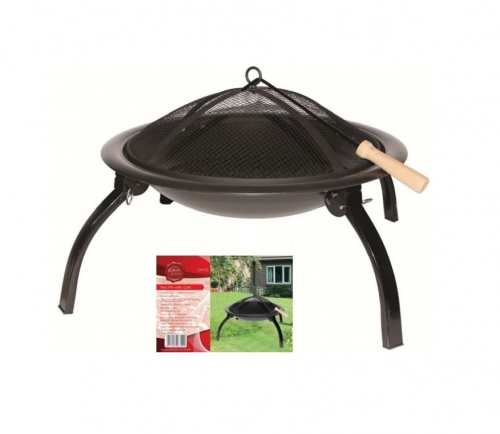Fire Pit With Grill Garden Black Outdoor Camping Portable With Cover