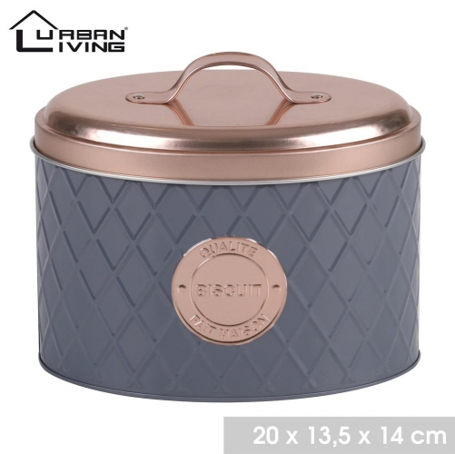Copper Lid and Grey Cookie Tin Biscuit Container Modern Design