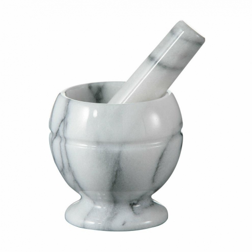 White Marble Mortar and Pestle Hand Crusher