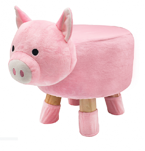 Pig Design Round Stool Wooden Legs For Childrens