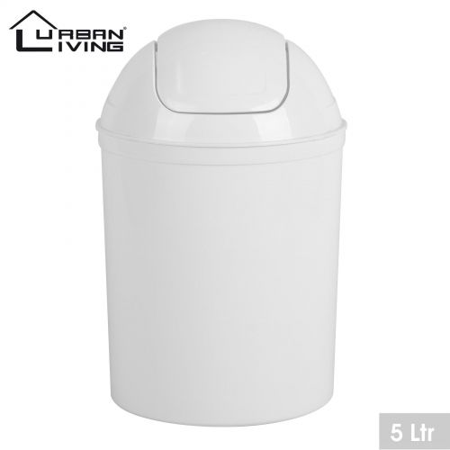 White Plastic 5 Litre Mini Swing Top Lid Waste Bin Office Home Bathroom Toilet