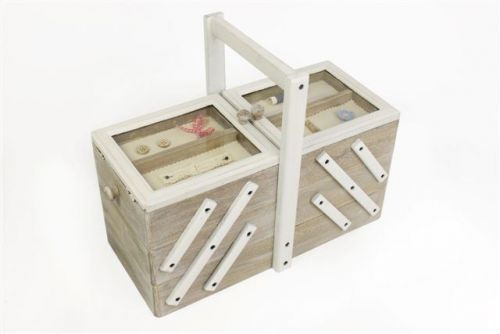 36X29X18 Shabby Chic Wooden 5 Compartment Sewing Box Craft Storage