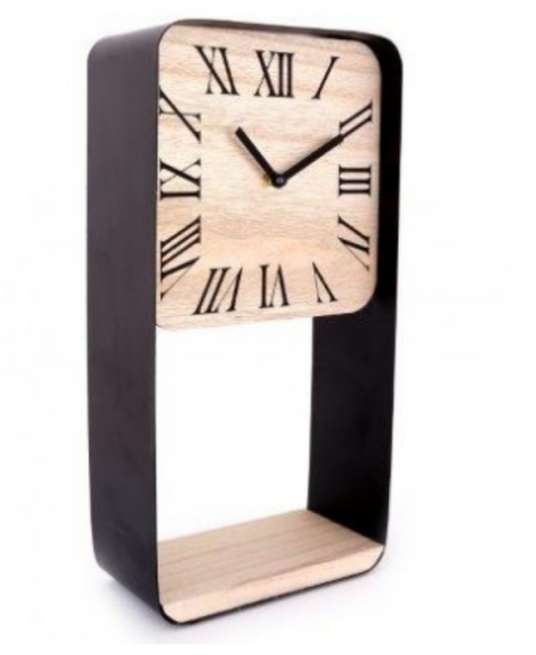 40X20 Cm Metal Frame Clock Shelf