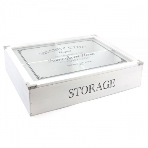 Shabby Chic Kitchen 4 Compartment White Wooden Storage Display Box Glass Lid