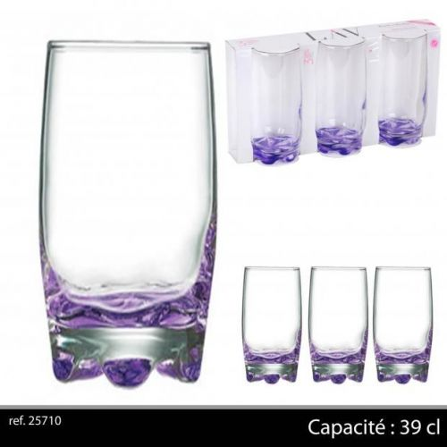 3Pk Hi Ball Glasses 39Cl Purple