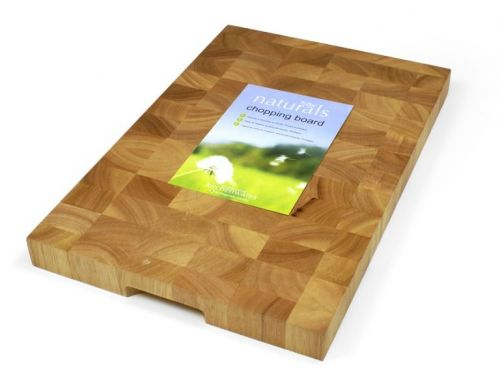 Naturals Rectangular Wooden Professional Chopping Board Butchers Block 45x30x3.5cm with Holding Grip