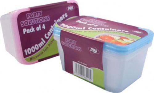 4 Plastic Food Containers with Lids 1000ml Microwave Dishwasher Freezer Safe