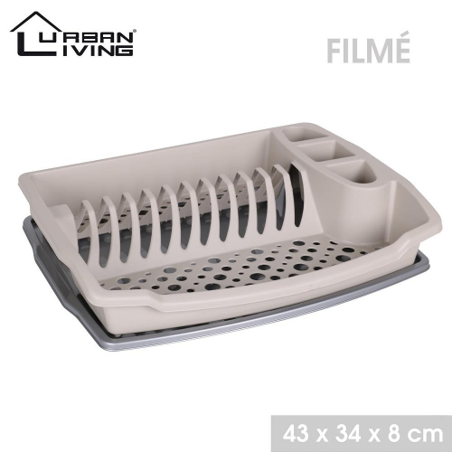 Plastic Dish Draining Rack With Tray Taupe