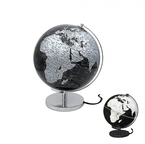 Rotating World Globe Silver and Black Light Up Ornament