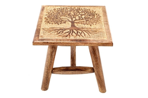 25cm Tree of Life Hand Carved Stool