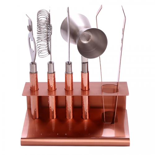 6 Piece Hammered Copper Metal Cocktail Bar Tool Set and Stand