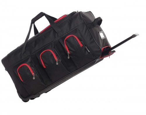 5Cities Large Rolling Holdall bag with wheels Black Red 102L