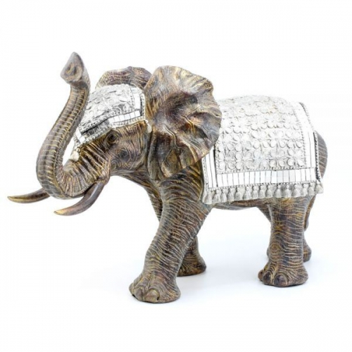 49Cm Exotic Art Decorated African Elephant Silver Gift Home Decoration
