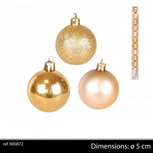 12Pk Christmas Baubles Gold D5