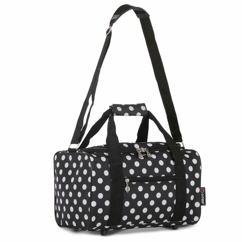 5 Cities travel Holiday Camping Black Polka Dot Cabin Holdall Bag 40x25x20cm Sized 20L