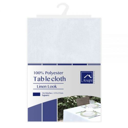 54X54 Inches Square Polyester Table Cover White Linen Look