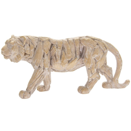 Driftwood Tiger Resin Wooden Carved Effect Animal Statue Ornament