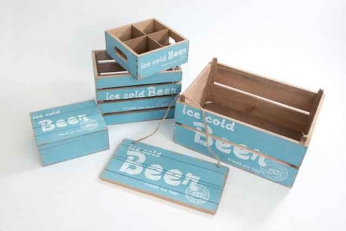 5 Pc Beer Serving Bar Decoration wooden Set Crates and Beer Signboard