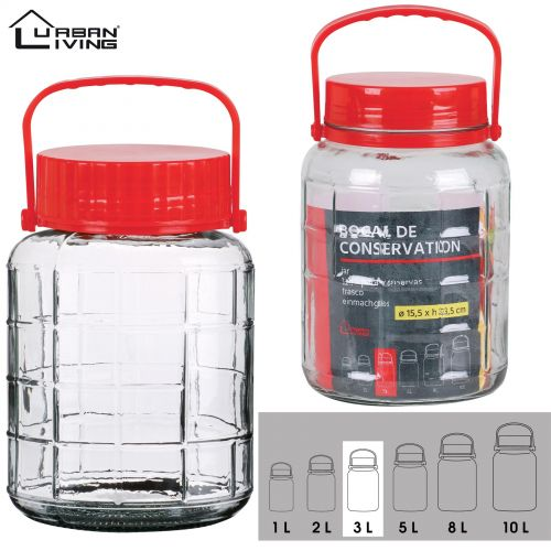 3L Glass Jar Food Preserve Seal-able Airtight Container With Red plastic lid