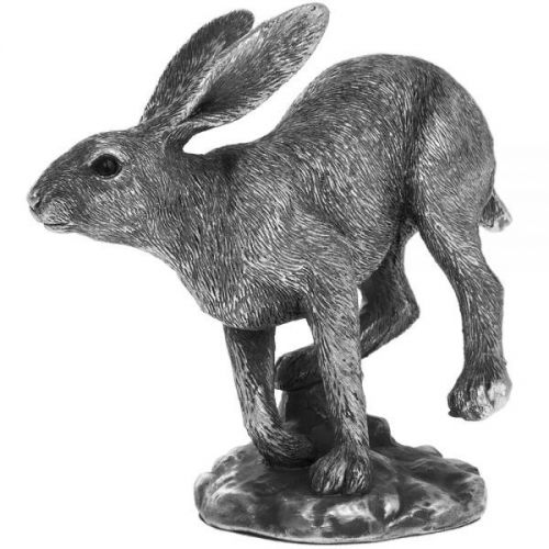 14Cm Reflections Silver Hare Running Ornament Home Decoration Figurine