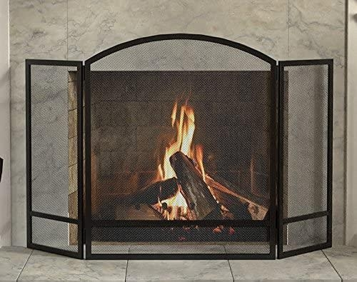 3 Panel Arch Screen with Double Bar for Fireplace Black finish