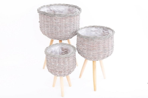 Set of 3 Grey Willow Planters for Home and Garden Decoration