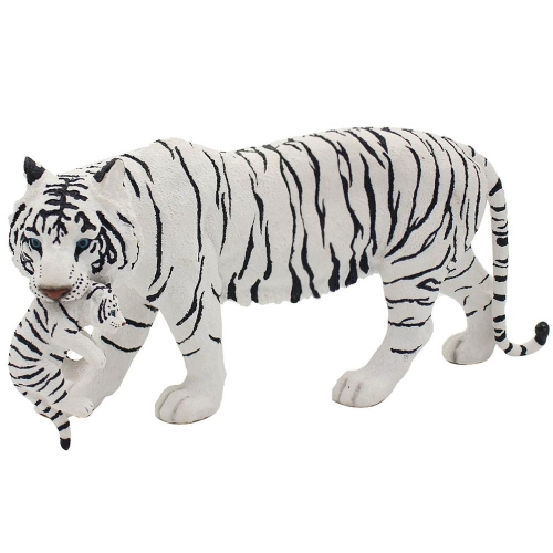 White Standing Snow Tiger and Cub Resin Decorative Ornament