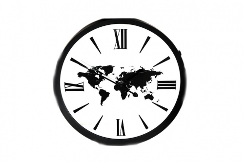 45cm Round Wall Clock With World Design Home Office Decoration
