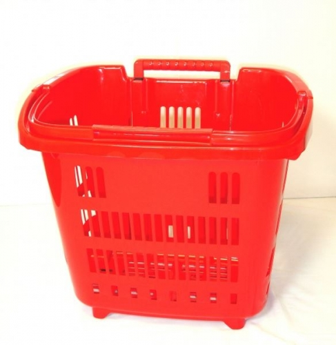 Red Rolling Shopping, Laundry Basket