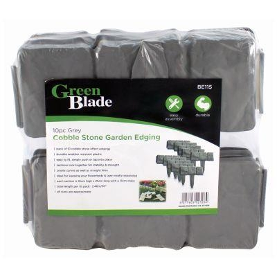 10Pc Grey Cobble Stone Garden Edging Plastic