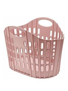 Addis Fold flat Pink laundry basket Plastic 38 litre light weight